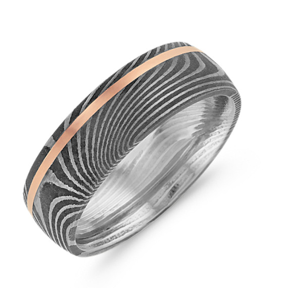 Damascus Steel and 14k Rose Gold Ring 7mm Shane Co