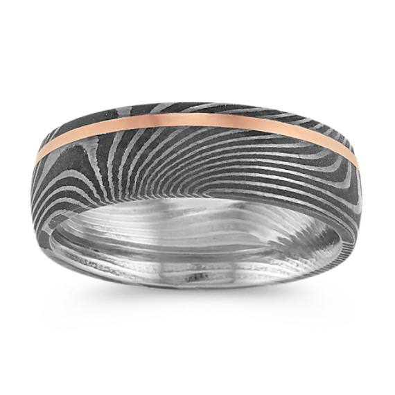 Damascus Steel and 14k Rose Gold Ring (7mm)