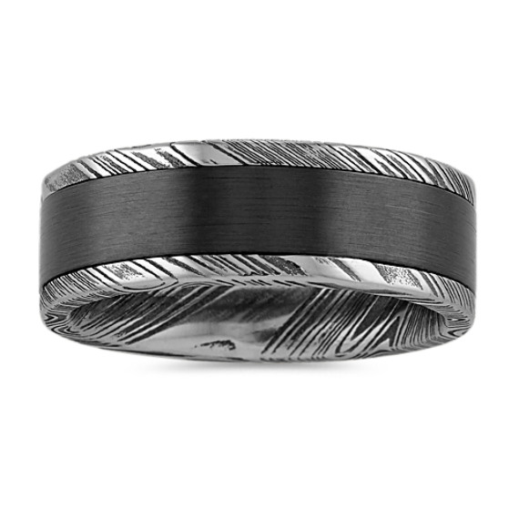 Damascus Steel and Black Zirconium Mens Band (8mm)