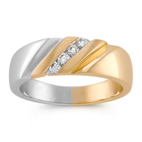 Diagonal Round Diamond Ring in 14k Two-Tone Gold with Channel-Setting