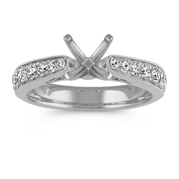 Diamond Cathedral Engagement Ring in 14k White Gold