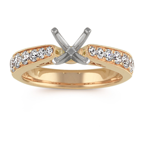 Diamond Cathedral Engagement Ring in 14k Yellow Gold