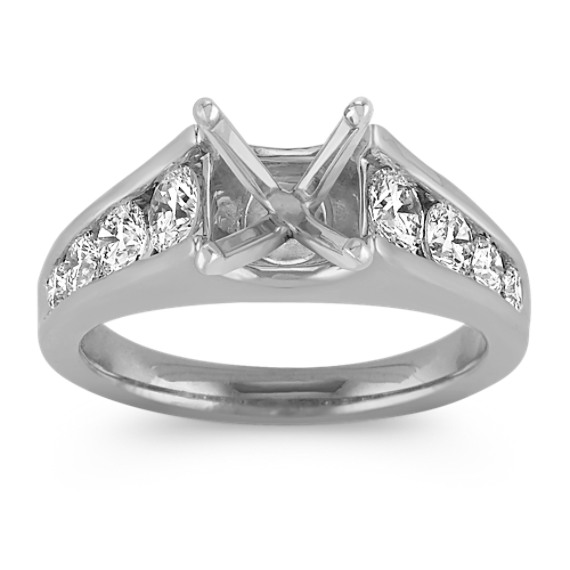 Diamond Cathedral Engagement Ring with Channel-Setting