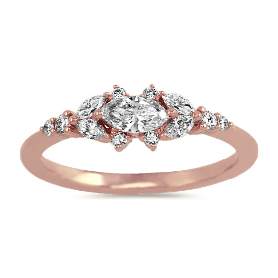 Diamond Cluster Ring in 14k Rose Gold
