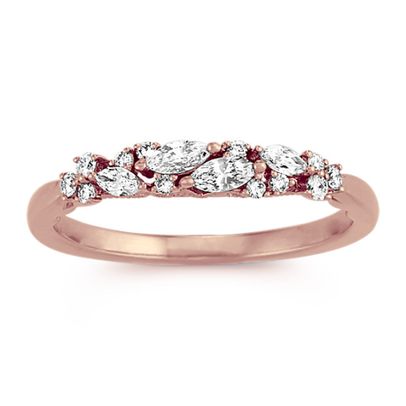 Diamond Cluster Wedding Band in 14k Rose Gold