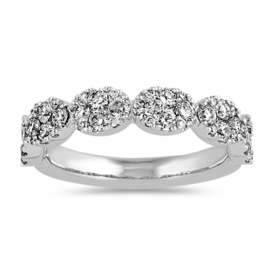 Diamond Oval Cluster Band in 14k White Gold