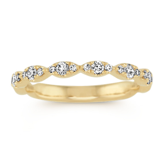 Diamond Cluster Wedding Band in 14k Yellow Gold