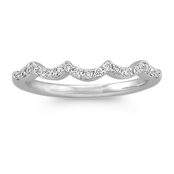 Diamond Contour Wedding Band with Pave Setting
