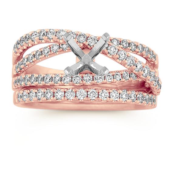 Diamond Crossover Wedding Set in 14k Rose Gold