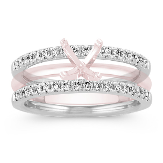 Diamond Engagement Ring Guard in 14k White Gold