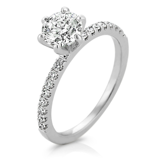 5a3b9f3fb54b Pave-Set Diamond Engagement Ring in 14k White Gold