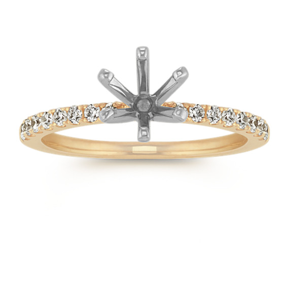 Diamond Engagement Ring with Pave Setting in 14k Yellow Gold (Sz 4)