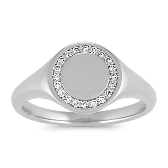 Diamond Engravable Signet Ring in 14k White Gold
