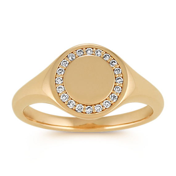 Diamond Engravable Signet Ring in 14k Yellow Gold