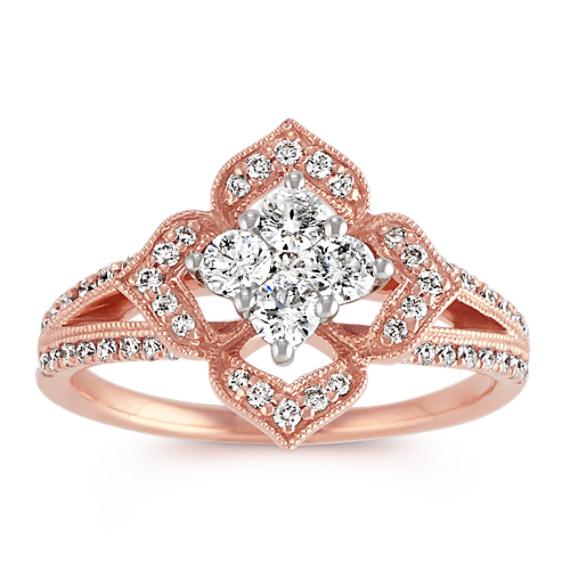 Diamond Floral Ring in 14k Rose Gold