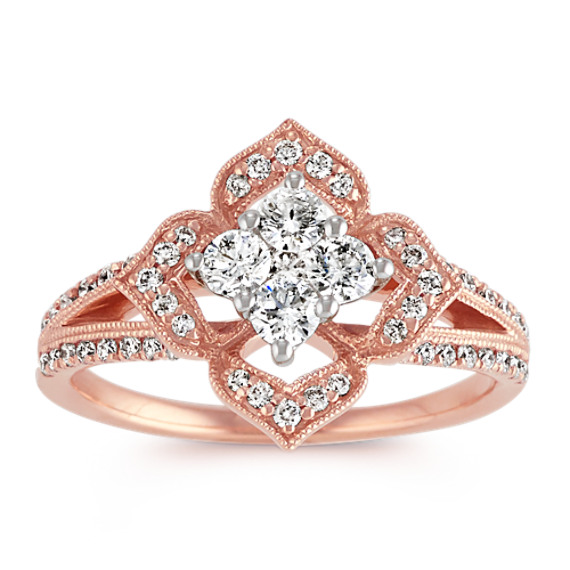 Diamond Floral Ring in 14k Rose Gold