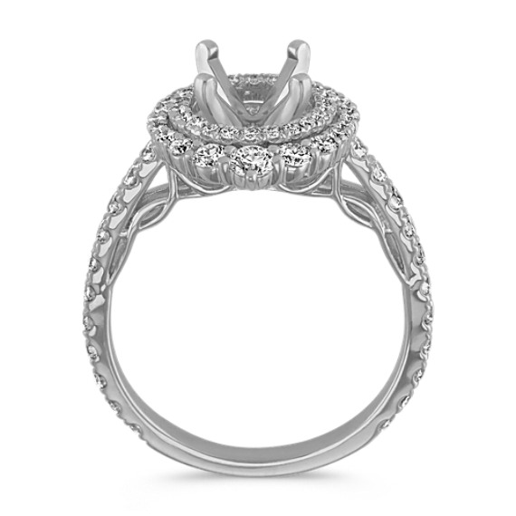 Diamond Halo Engagement Ring in 14k White Gold image