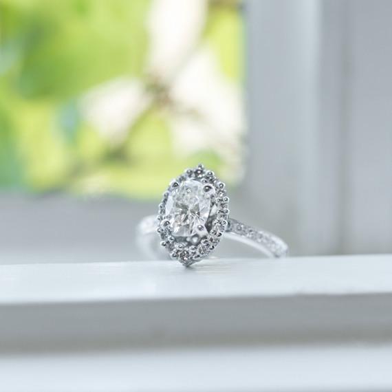 Diamond Halo Engagement Ring in 14k White Gold image