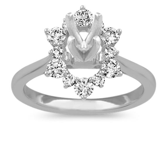 Diamond Halo Engagement Ring in 14k White Gold