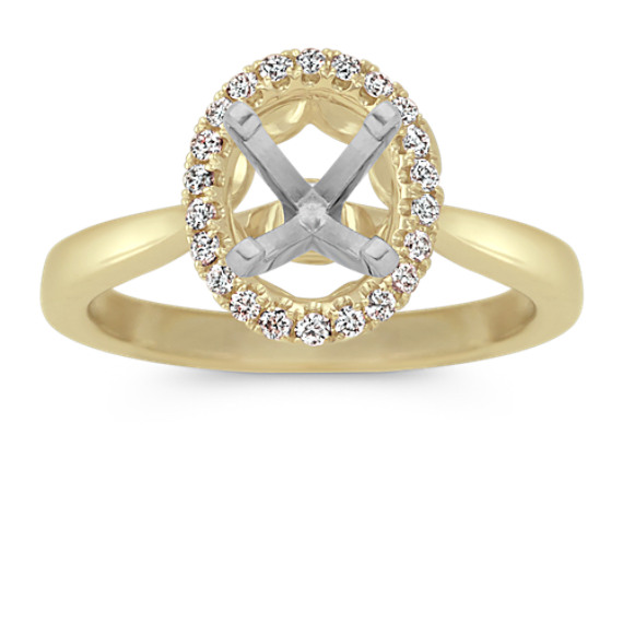 Diamond Halo Engagement Ring in 14k Yellow Gold