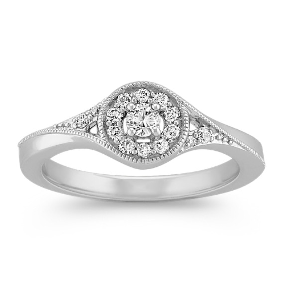 Diamond Halo Ring in Sterling Silver