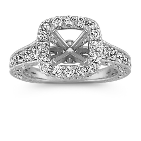 Diamond Halo Vintage Engagement Ring