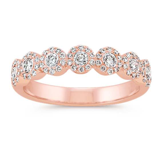 Diamond Halo Wedding Band in 14k Rose Gold