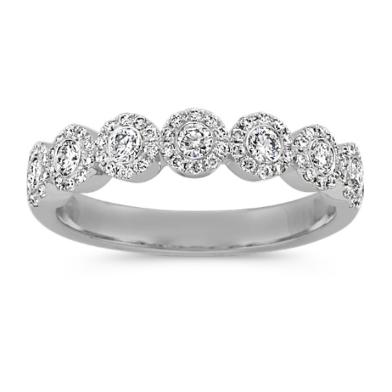 Diamond Halo Wedding Band in 14k White Gold