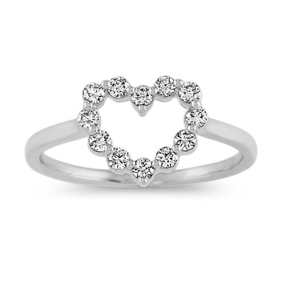 Diamond Heart Ring in White Gold
