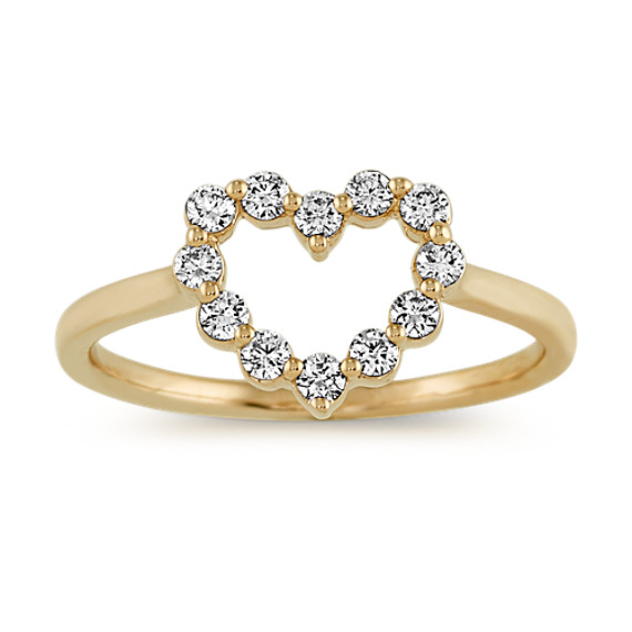 Diamond Heart Ring in Yellow Gold