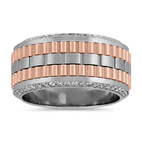 Diamond Men's Band in 14k Two-Tone Gold (11mm)