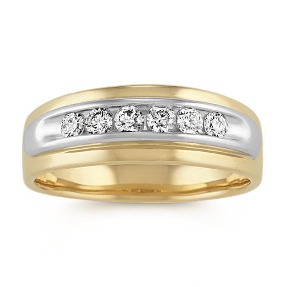 Diamond Mens Band in 14k Two-Tone Gold (7.8mm)