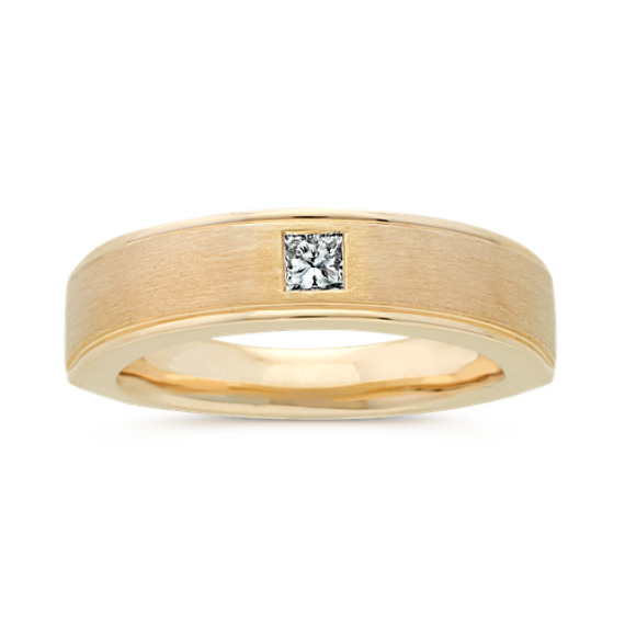 Diamond Mens Band in 14k Yellow Gold (6mm)