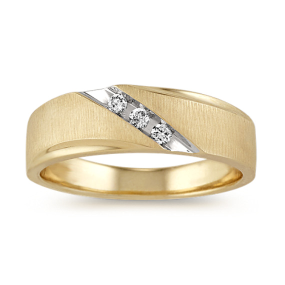 Diamond Mens Band in 14k Yellow Gold (7mm)