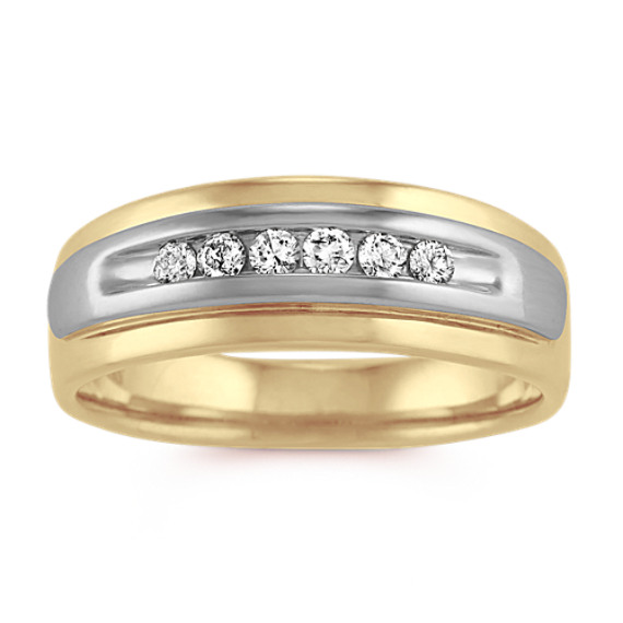 Diamond Mens Band in 14k Yellow and White Gold (7mm)