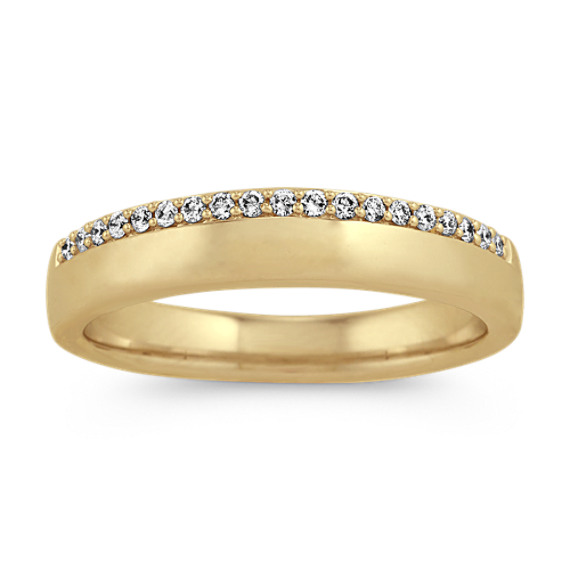 Diamond Mens Wedding Band in 14k Yellow Gold