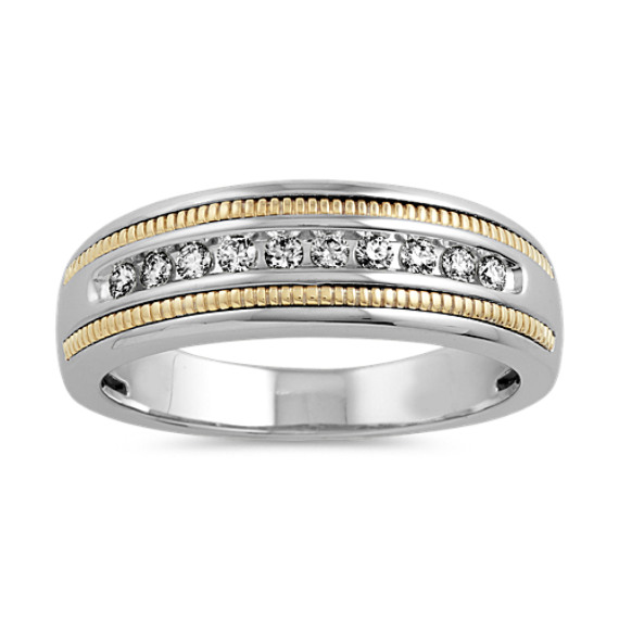 Diamond Ring in 14k White and Yellow Gold (4mm)