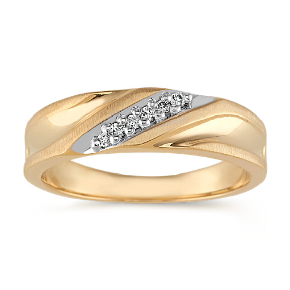 Diamond Ring in 14k White and Yellow Gold (6mm)