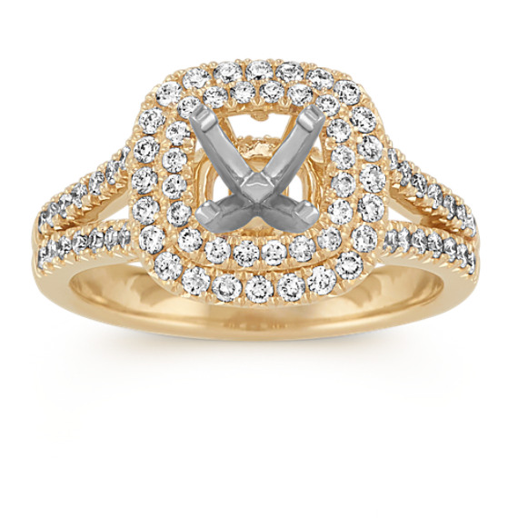 Diamond Split Shank Double Halo Engagement Ring