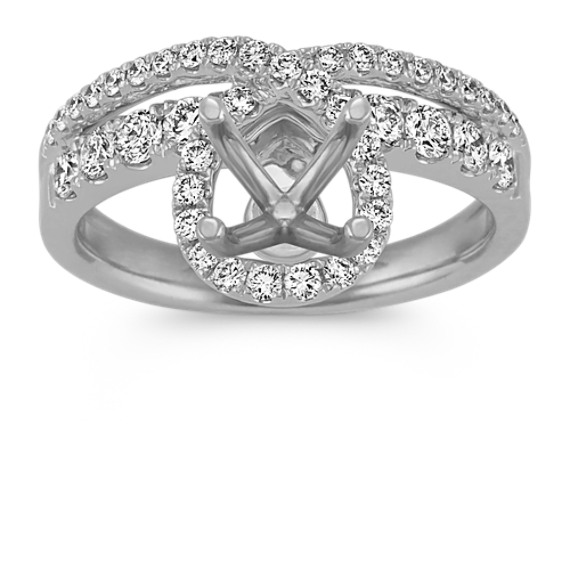 Diamond Swirl Engagement Ring in 14k White Gold