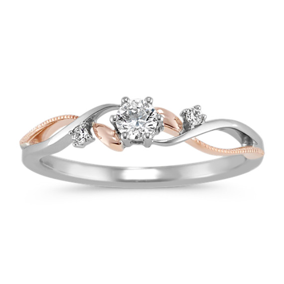Diamond Swirl Ring in Sterling Silver and 14k Rose Gold