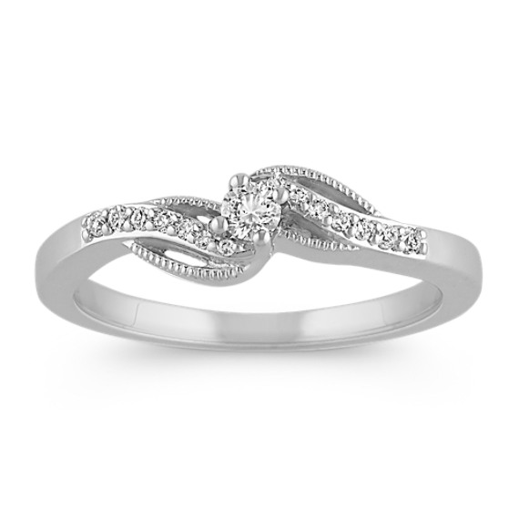 Diamond Swirl Ring in Sterling Silver with Milgrain Detailing