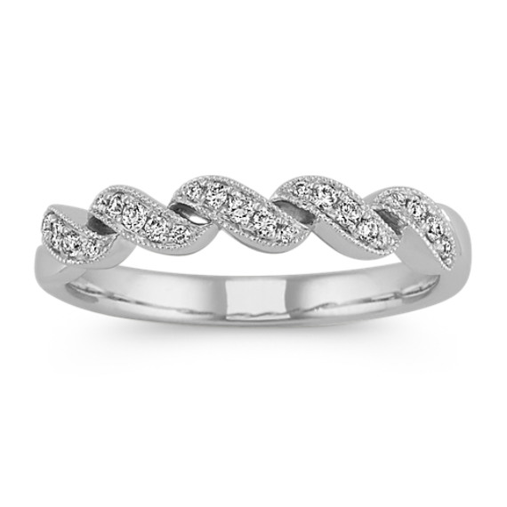 Diamond Swirl Wedding Band in 14k White Gold