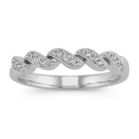 Diamond Swirl Wedding Band In 14k White Gold Shane Co