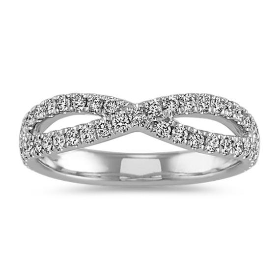 Diamond Swirl Wedding Band in 14k White Gold