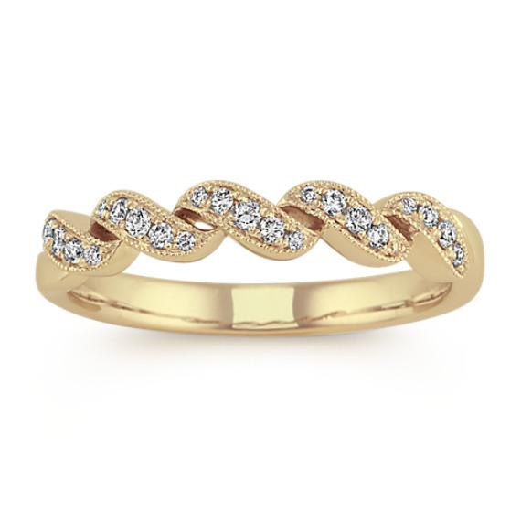 Diamond Swirl Wedding Band in 14k Yellow Gold