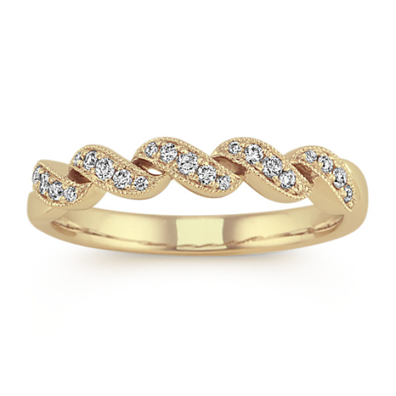 Diamond Swirl Wedding Band in 14k Yellow Gold