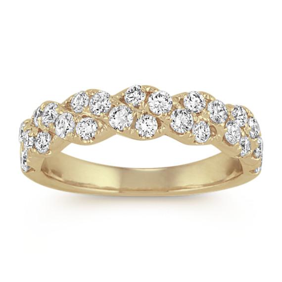Diamond Twist Wedding Band in 14k Yellow Gold
