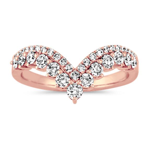 Diamond V Wedding Band in 14k Rose Gold