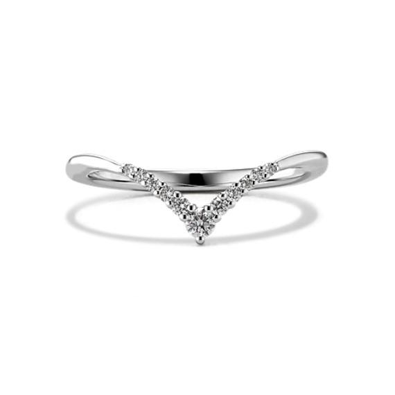 Diamond V Wedding Band in 14k White Gold
